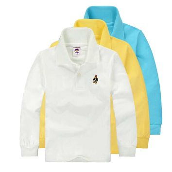 High Quality Unisex Boys Girls School Uniform Polo Shirt Kids  Baby Toddler Long Sleeve Spring Autumn   Cotton TShirts
