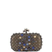 Bottega Veneta Metal Lattice Mini Knot Clutch Bag, Gray