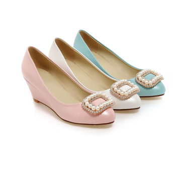 Rhinestone Wedges Pumps Platform High Heels Women Shoes 2165