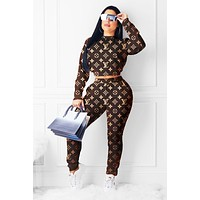 LV Louis Vuitton Fashion Women Print Top Pants Trousers Set Two-Piece Sportswear