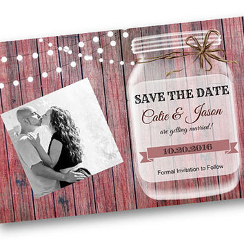 Rustic Wedding Save the Date Dark Wood Rustic mason jar card with string of lights rustic vintage shabby chic photo printable invitation