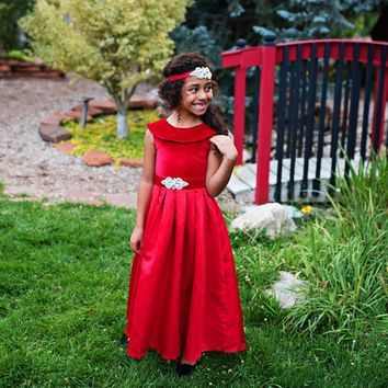 Red Amelia Classic Velvet & Satin Dress & Sash - Toddler, Girls & Juniors