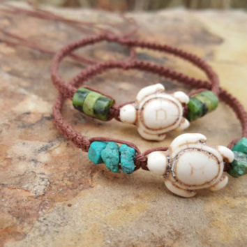 Hemp Bracelet Set, Sea Turtle Bracelets, Gemstones, Gift for Her, Friendship Bracelets, Turtle Hemp Bracelet,Hemp Jewelry, Handmade, Gift