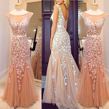 2016 New Prom Dresses Evening Formal Gown Party  Dress  Mermaid Sheer Neckline Backless Appliqued Champagne Tulle Floor Length
