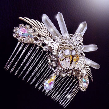 Steampunk hair piece, Steampunk hair comb, quartz crystal hair comb, crystal tiara, steampunk hair jewelry, OOAK, crystal fascinator