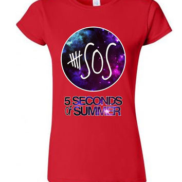 5 Seconds of Summer SOS Tee for ladies in red & black