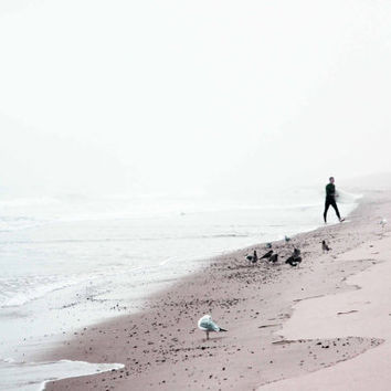 Surfing Where the Ocean Meets the Sky - White - Beige - Black - Minimalist - Surfer  -Fine Art Photo
