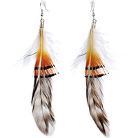 Striped in Style Drop Feather Earrings | Body Candy Body Jewelry