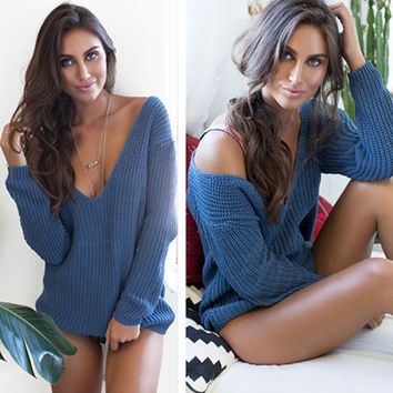 Loose Deep V-Neck Sweater in Royal Blue or Creamy White