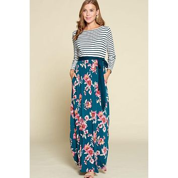 Stripes and Floral Maxi Dress - Teal