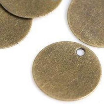 50 x Mini Tarnished Antique Bronze Round Blank Stamping Tags ( 10mm ) Metal Circle Jewellery Pendants / Charm / Discs Engrave & Personalise.