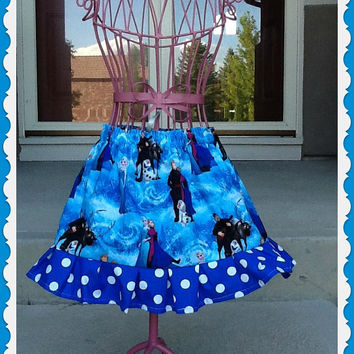 girls FROZEN Skirt Anna and Elsa Olaf twirly fun all sizes available 2t 3t 4t 5 6 6X 7/8 and 10/12 ready to ship
