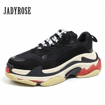 Jady Rose Retro Black Women Sneakers Lace Up Platform Shoes Creepers Female Casual Flats Ladies Shoes Tenis Feminino Espadrilles