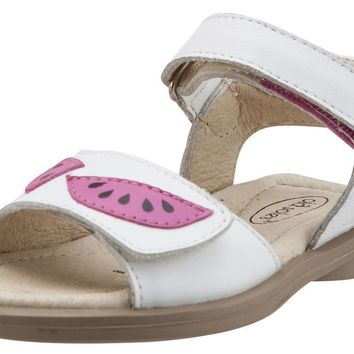 Old Soles Girl's 526 Tropicana Watermelon Slices Smooth White Leather Peep Toe Hook and Loop Sandals