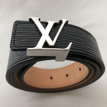 DCCKON Louis Vuitton - Black Leather Belt Logo