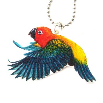 Parrot Bird Animal Hand Drawn Pendant Necklace | Handmade Shrink Plastic