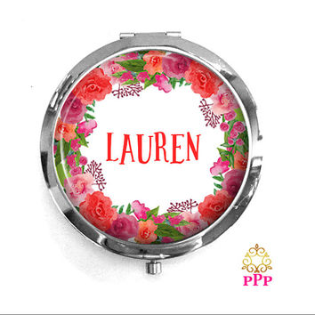 Compact Mirror Personalized Watercolor Floral Wreath Bridesmaid Gift Style 699