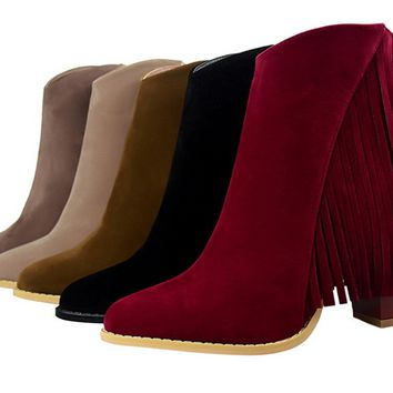 Womens Stunning Edgy Fringe Bootie Heels
