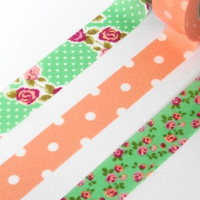 Colte Washi Masking Tape - Rose Orange - Set 3