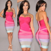 Sexy Strapless Contrast Color Back Zipper Bodycon Short Dress