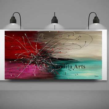 Abstract painting Original Surreal ABSTRACT PAINTINGS Modern Art for sale LARGE modern art 48x24 abstract art for sale fine art Nandita