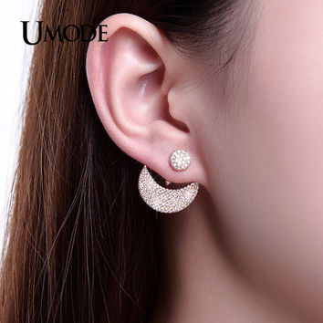 UMODE Brand Moon And Sun Design Stud Earrings Jacket Gold color Micro CZ Paved Earrings For Women Jewelry Brinco bijoux UE0250A