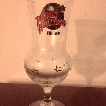 Planet Hollywood Chicago Souvenir  Glass Vintage Glass Coctail Stemware Glass