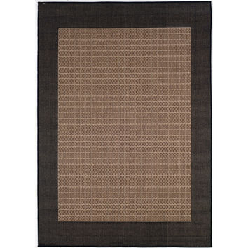 5'3 x 7'6 Indoor Outdoor Checkered Black Brown Cocoa Area Rug