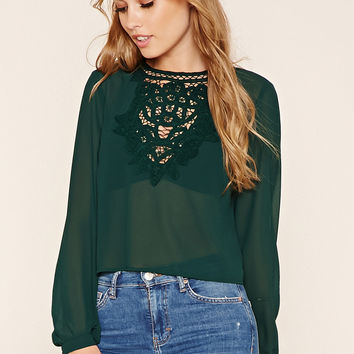Semi-Sheer Crochet Trim Top