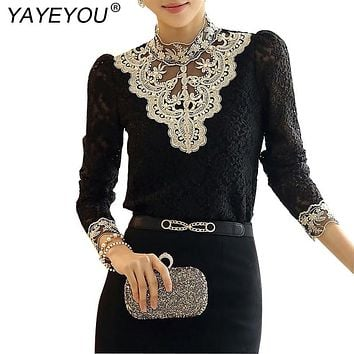 YAYEYOU 2017 Elegant Lace Blouse Shirt Long Sleeve Bodysuit Beaded Women Crochet Tops Blusas Roupas Female Clothing
