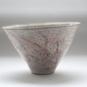 Hand thrown earthenware small ornamental bowl with aged look - Japanese style inspired