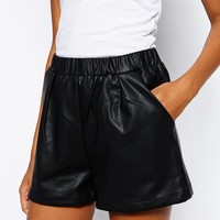 Glamorous Tall PU Shorts with Pockets at asos.com