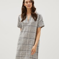 Check Linen Patch Pocket Dress | Jaeger
