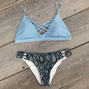 New Salty Seabreeze Lace Up Bikini Set Swimsuit +Free Gift -Random Necklace