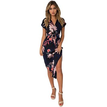 Navy Pink Floral Print Pencil Dress