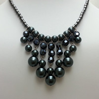 Black Glass Pearl Bib Necklace with Faceted Black Crystal and Hematite Beads - Beadwork