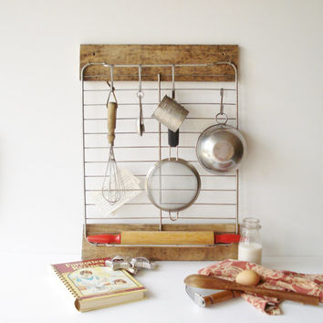 Handmade Upcycled Kitchen Utensil Rack Baking Center, Rustic Industrial Kitchen Rack