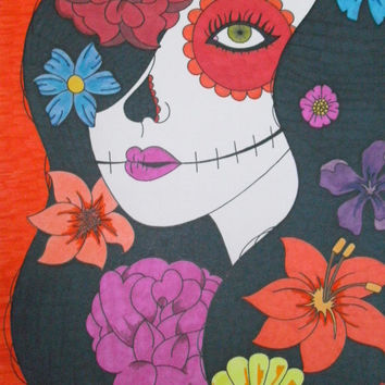 Sugar Skull Girl with Colorful Flowers 9x12 Sharpie and Promarker Drawing, Original Day of the Dead, Dia De Los Muertos, Mexican Inspired