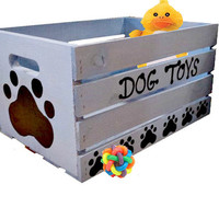 Dog Toy Box Hand Painted Puppy Rustic Toy Chest - Large Breed