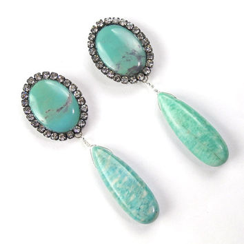 Turquoise Earrings Gemstone Diamond Bezel Style Swarovski Statement