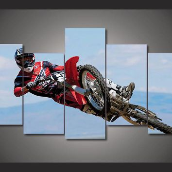 Dirt Bike Motorcycle Racing  5 piece wall art