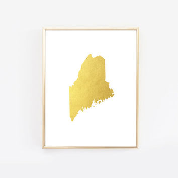 Maine State Gold Foil Art Print
