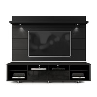 Cabrini TV Stand and Floating Wall TV Panel with LED Lights 2.2 in Black