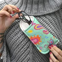 Fun Eyeglass Case, Spec Case, Eyeglass Pouch, Mint Green pouch, Mint Green, Paisley, Gift for Her, Gift for women, unique gift,birthday gift
