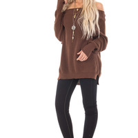 Chocolate Off the Shoulder Long Sleeve Sweater