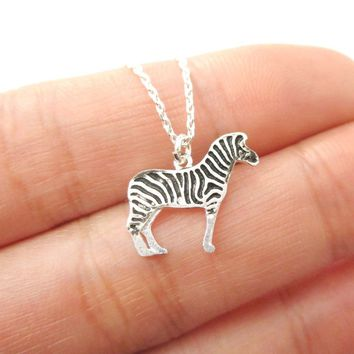 Detailed Zebra Shaped Charm Necklace in Silver | Animal Jewelry