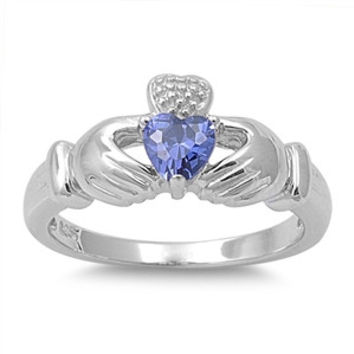 Sterling Silver Unique Design Sleek Tanzanite Claddagh Ring Sz 5-9