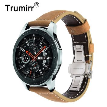 Italy Genuine Leather Watchband 22mm +Tool for Samsung Galaxy Watch 46mm SM-R800 Quick Release Band Steel Butterfly Clasp Strap