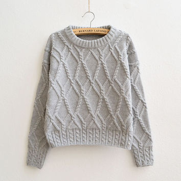 Cable Retro Solid Color Scoop Knit Sweater
