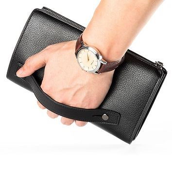 Luxury Wallets With Coin Pocket Long Zipper Coin Purse for Men Clutch Business Male Wallet Double Zipper Vintage Large Wallet
